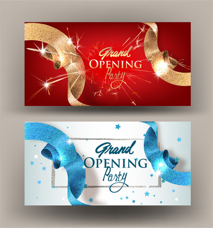 Ilustración de Grand opening banners with sparkling beautiful ribbons. Vector illustration - Imagen libre de derechos