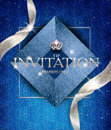 Ilustración de Elegant invitation blue card with sparkling ribbons and vintage design elements. Vector illustration - Imagen libre de derechos