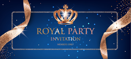 Ilustración de Elegant Royal party invitation card with beige sparkling ribbons and crown. Vector illustration - Imagen libre de derechos