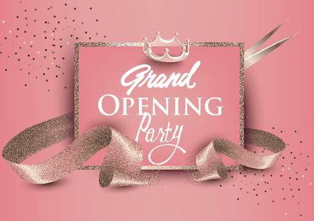 Ilustración de Grand opening banners with curly sparkling ribbons, scissors and sparkling frame. Pastel collors.Vector illustration - Imagen libre de derechos