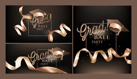 Grad party invitation cards with ribbons. Vector illustration