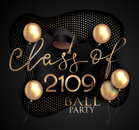 Graduation ball and gold balloons