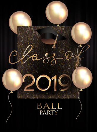 Graduation party invitation card with gold air balloons, sparkling background and graduation cap