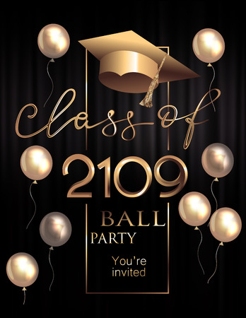 Graduation party poster with golden design elements. Vector illustration