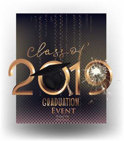 Graduation party 2019 invitation letters and sparks and serpentine. Vector illustration