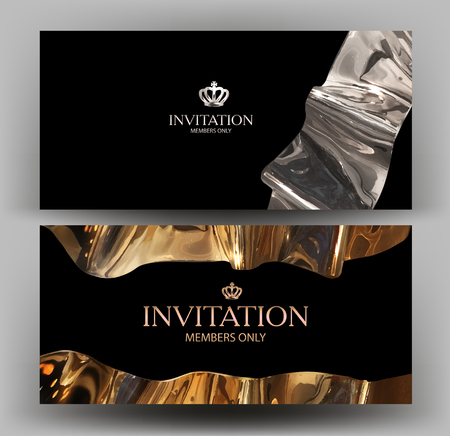 Illustration pour VIP card with gold curved element. Vector illustration - image libre de droit