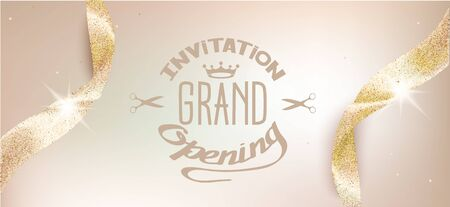 Ilustración de Elegant grand opening beige invitation card with sparkling ribbons. Vector illustration - Imagen libre de derechos