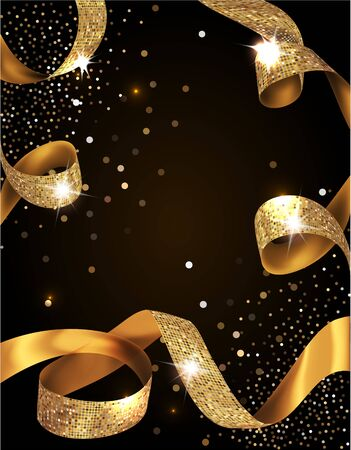 Illustration pour Elegant VIP invitation card with silk textured curled gold ribbons - image libre de droit