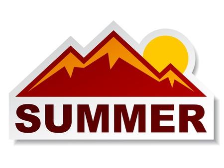 Illustration pour vector summer mountain sticker - image libre de droit
