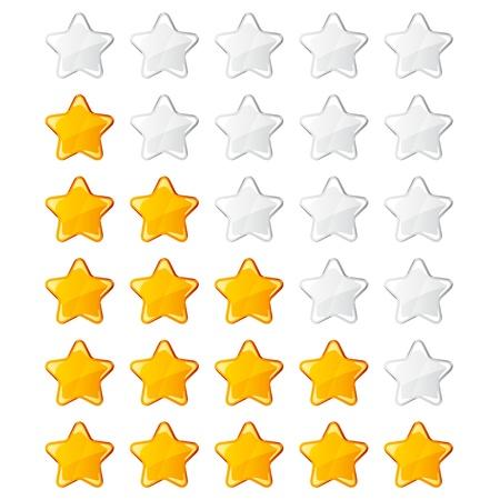 vector yellow shiny rating stars