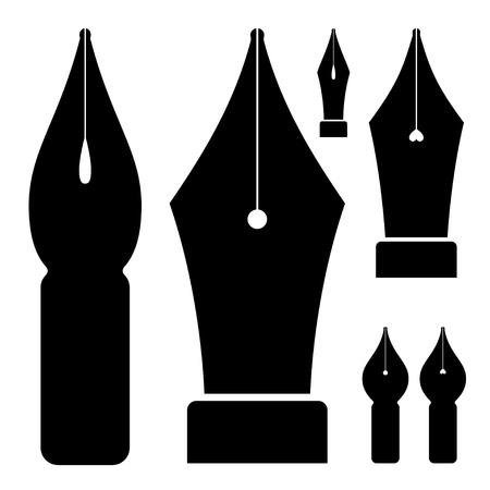 vector old ink pen nibs