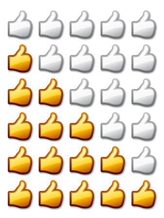 vector golden rating thumb up hands