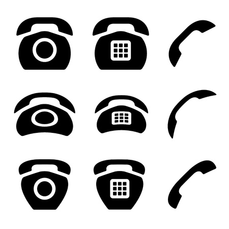 vector black old phone and receiver icons