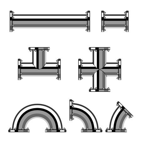 vector chrome pipes with flange