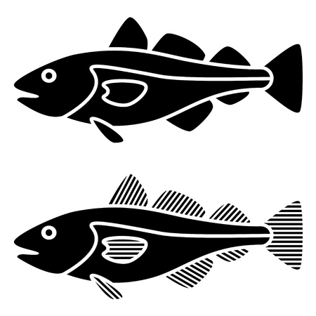 vector black cod fish silhouettes