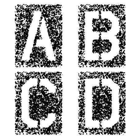 vector stencil angular spray font letters A B C D: Royalty-free
