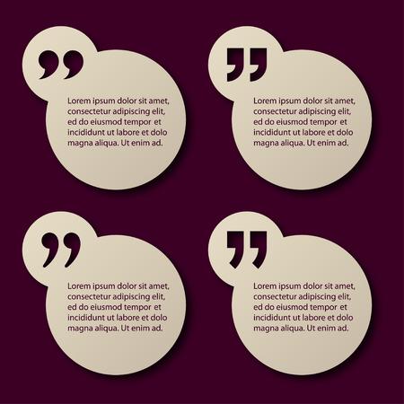 EPS10 vector paper quotation mark circle frames