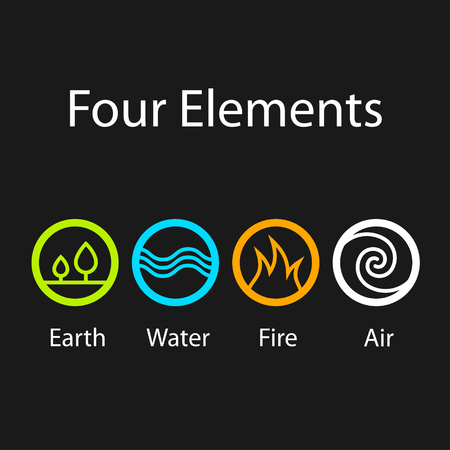 Illustration pour four natural elements symbols - image libre de droit