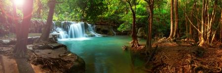 Huay mae kamin waterfall in Kanchanaburi Thailand Panorama