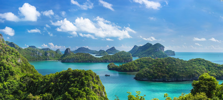 Sea beach island sky with bird eye view panorama at Mu Ko Ang Thong. This place is a marine national park in the Gulf of Thailand.
