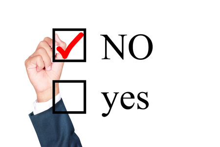 say no tick mark on checkbox by businessman draw on whiteboard white background