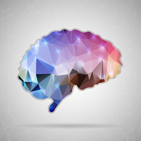 Illustration pour Abstract Creative concept vector icon of Brain for Web and Mobile Applications isolated on background. Vector illustration template design, Business infographic and social media, origami icons. - image libre de droit