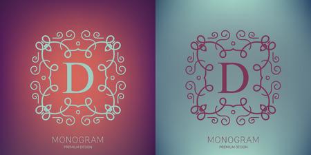 Abstract creative concept vector logo of retro monogram isolated on background. Art illustration template design for restaurnat, cafe, hotel, real estate, wedding and spa elegant cute fine emblem.