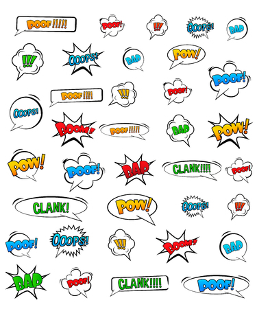Illustration pour Abstract Creative concept vector pop art style set of comic text template with clouds beams and isolated dots pattern on background. For Web and Mobile Applications, illustration template design. - image libre de droit