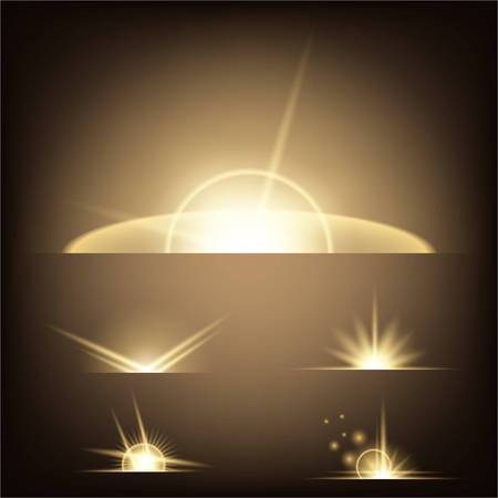 Creative concept Vector set of glow light effect stars bursts with sparkles isolated on black background. For illustration template art design.