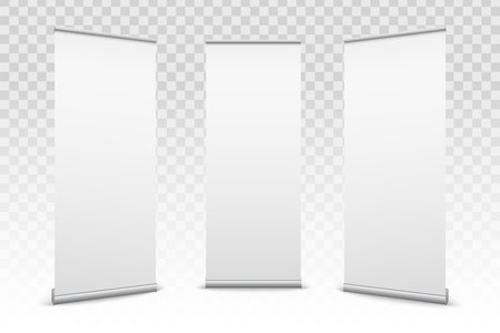 Illustration pour Creative vector illustration of empty roll up banners with paper canvas texture isolated on transparent background. Art design blank template mockup. Concept graphic promotional presentation element. - image libre de droit