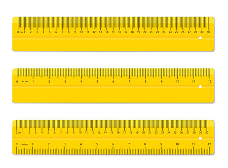 Illustration for Creative vector illustration of realistic colorful rulers isolated on background. Art design measuring tool supplies. Abstract concept graphic element. - Royalty Free Image
