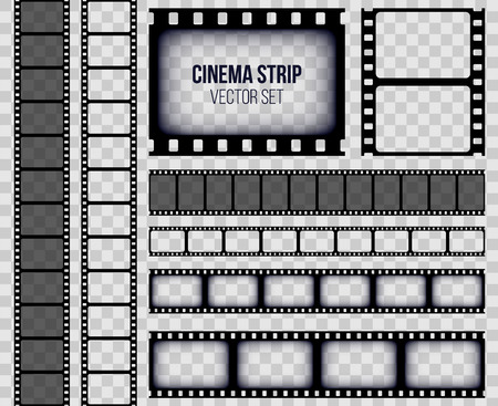 Illustration for Creative vector illustration of old retro film strip frame set isolated on transparent background. Art design reel cinema filmstrip template. Abstract concept graphic element - Royalty Free Image