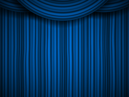 Illustration pour Creative vector illustration of stage with luxury scarlet red silk velvet drapes and fabric curtains isolated on background. Art design. Concept element for music party, theater, circus, show - image libre de droit