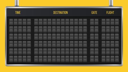 Ilustración de Creative vector illustration of realistic flip scoreboard, arrival airport board with alphabet, numbers isolated on transparent background. Art design. Analog timetable font. Concept graphic element. - Imagen libre de derechos