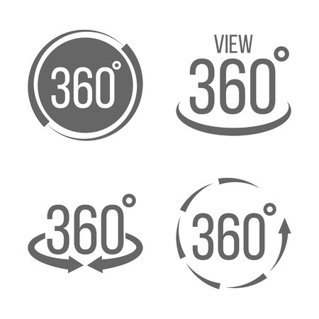 Illustration pour Creative vector illustration of 360 degrees view related sign set isolated on transparent background. Art design. Abstract concept graphic rotation arrows, panorama, virtual reality helmet element - image libre de droit