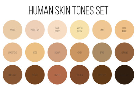 Illustration pour Creative vector illustration of human skin tone color palette set isolated on transparent background. Art design. Abstract concept person face, body complexion graphic element for cosmetics - image libre de droit