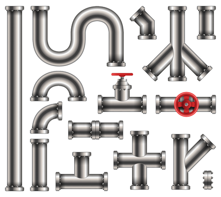 Illustration pour Creative vector illustration of steel metal water, oil, gas pipeline, pipes sewage isolated on transparent background. Art design abstract concept graphic ells, gate valve, fittings, faucet element. - image libre de droit