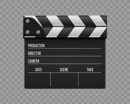 Illustration pour Creative vector illustration of 3d realistic movie clapperboard, film clapper isolated on transparent background. Art design cinema slate board template. Abstract concept graphic filmmaking element. - image libre de droit