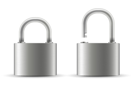 Creative illustration of realistic closed padlock for protection privacy isolated on background. Art design metal steel lock. Closed and open. Abstract concept graphic element.