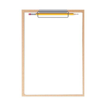 Photo pour Creative illustration of realistic clipboard with paper sheets and pen with isolated on background. Art design blank template mockup. Abstract concept graphic element. - image libre de droit