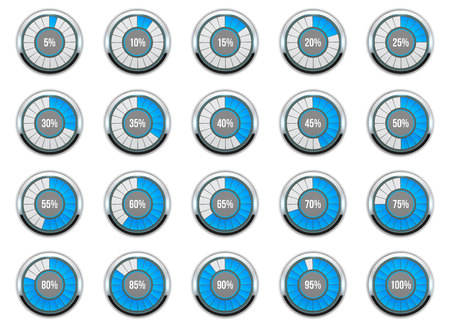 Foto de illustration of round progress bar. Circle indicators status. Loading and buffering percentage icon set. Circular interval timer. Art design. Abstract concept graphic element. Accuracy dial - Imagen libre de derechos