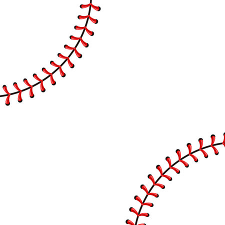 Photo for Creative illustration of sports baseball ball stitches, red lace seam isolated on background. Art design thread decoration. Abstract concept graphic element. - Royalty Free Image