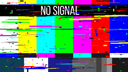 Photo pour Creative illustration of no signal TV test pattern background. Television screen error. SMPTE color bars technical problems. Art design. Abstract concept graphic element. - image libre de droit