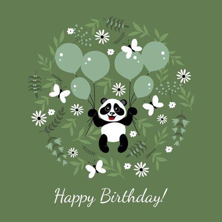 Ilustración de Little, funny, cute panda flies in balloons. Children's illustration decorated with plant elements. - Imagen libre de derechos