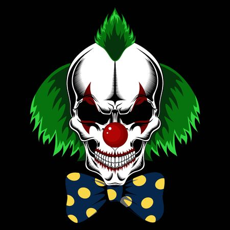 Illustration pour Clown skull with green hair and bow. Vector image on black background. - image libre de droit