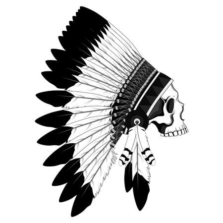 Illustration pour Skull in a crown of feathers. Black and white vector image of an Indian skull on the background. - image libre de droit