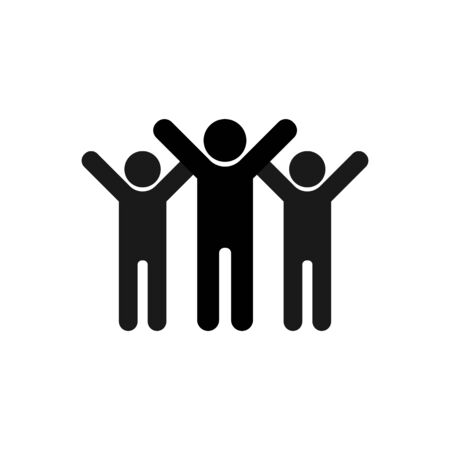 Illustration pour Friendship icon. Symbol of joyful friends with their hands up. A group of people celebrating the victory. - image libre de droit