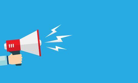 Illustration pour Hand holds a megaphone to announce news. Vector illustration. EPS 10 - image libre de droit