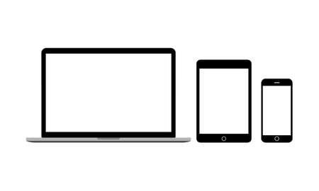 Illustration pour Set of screens for mobile devices. Laptop tablet and smartphone Vector EPS 10 - image libre de droit