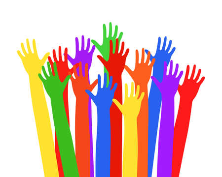 Illustration for Multi-colored hands raised up Vector illustration EPS10 - Royalty Free Image